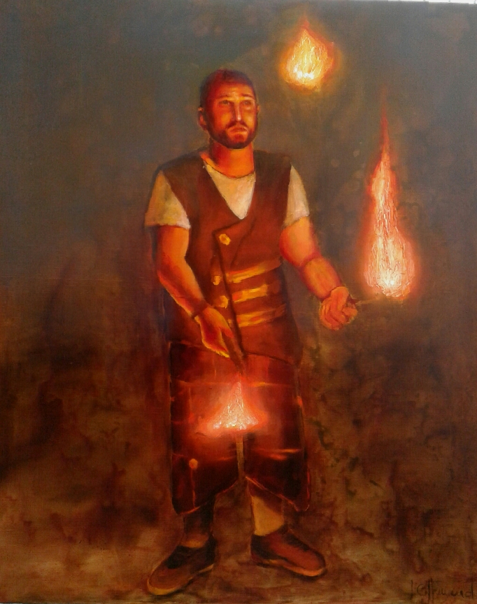 Le jongleur de feu.   100x120 cm