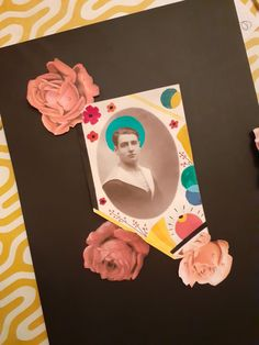 papiers,collages,chromos,roses,portraits,peinture,canson