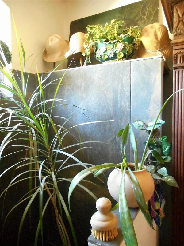deco,salle de bain,plantes vertes,chapeaux,paille,babakitsch