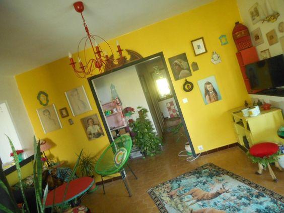 déco,salon jaune,babakitsch