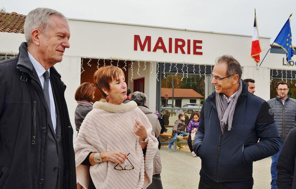 Mr Lebrun en présence du préfet des Landes et de la maire de la commune - Mr Frédéric Veaux et Mme Françoise DOUSTE