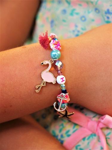 Kindergeburtstag Düsseldorf Armband mit Flamingo Anhänger