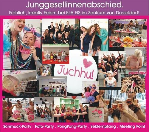 Junggesellinnendie feiern und fröhlich feiern. Treffen Sie sich mit den Junggesellinnen Ihrer Party zu einem Sektempfang bei ELA EIS  in Düsseldorf.