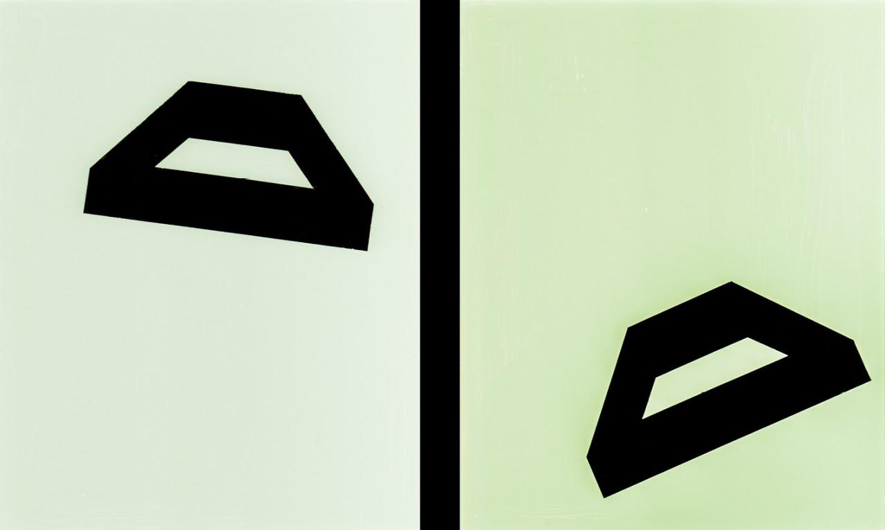Position, 2013, Hinterglasmalerei, 2-teilig, je 19 x 24 cm
