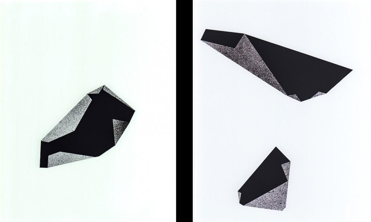 Zonen, 2013, Hinterglasmalerei, 2-teilig, je 19 x 24 cm