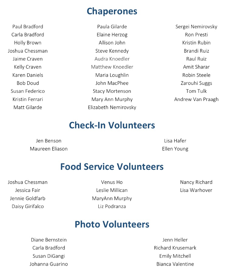 Chaperones & More Volunteers