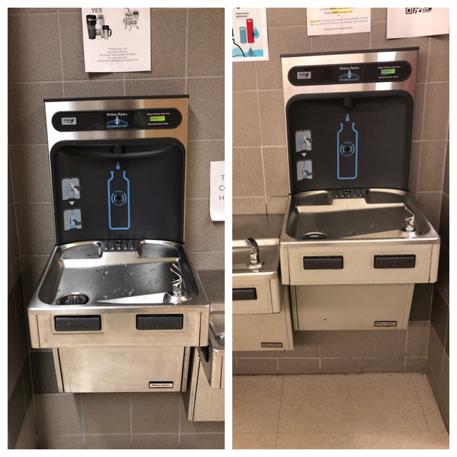 The water bottle stations located outside of the BHS Library (left photo) and Guidance Department (right photo.)