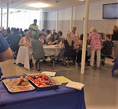 Staff enjoying the luncheon.  On a hot day, ice cold drinks were provided by leftovers from the All Night Grad Party and donations by Kelly Anderson, Carla Bradford, Neetu Devdas, Audra Knoedler, Marylee Pequeno, Soraya Stevens, Ellen Young.