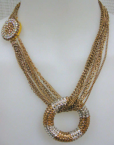Brass Chains with Pave clasp and donut.