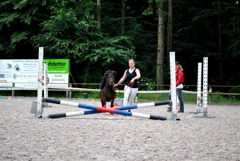 Chrigi mit Zyaro an der Prüfung Springen an der Hand