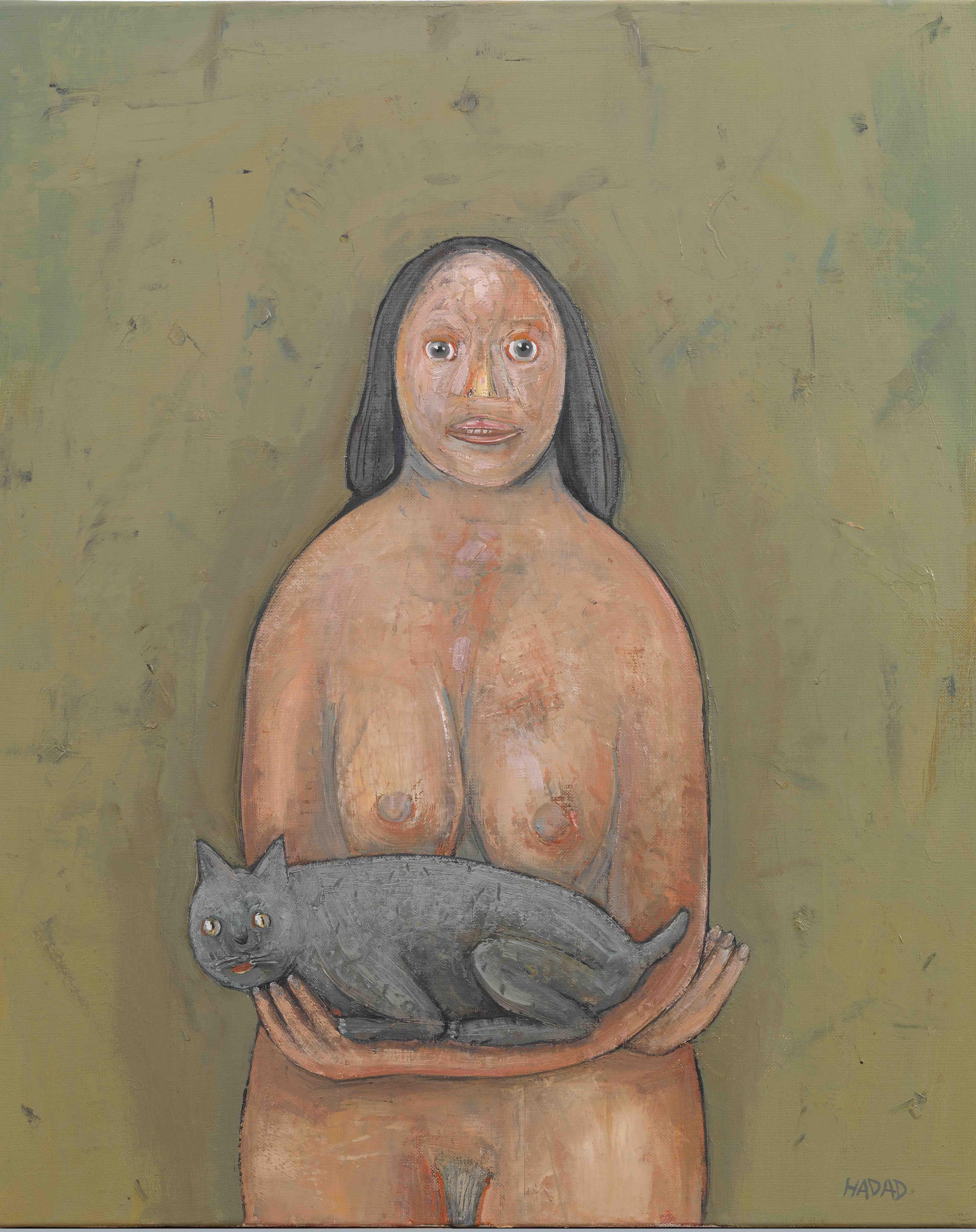 Abraham Hadad, La mère et ses jumelles, peinture à l'huile