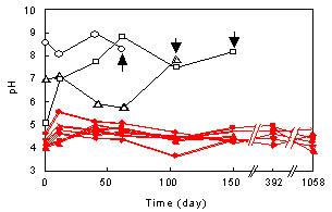 運転時間とコンポストのpH推移(東北大学大学院工学研究科の実験より)