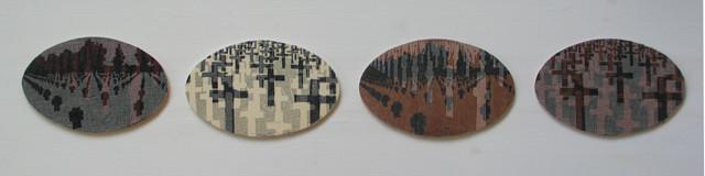 Soldatenfriedhöfe,2010, Linoldoppeldruck auf Holz uns Gaze