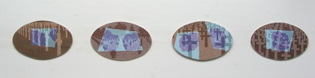 Soldatenfriedhöfe, Serie I, 2010, Linol - und Stempeldruck auf Holz und Gaze