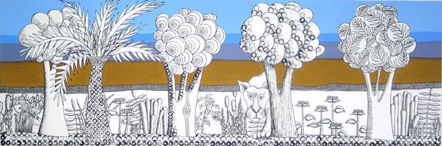 Natur, 2006, 65 x 200 cm, Acryl, Stempeldruck auf Nessel