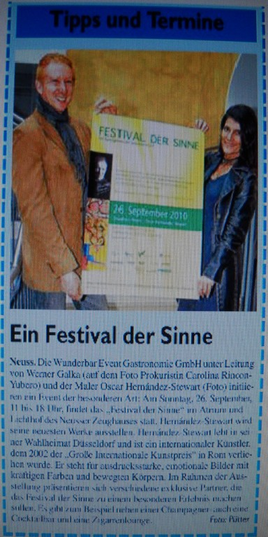 """Festival der Sinne"" Neuss, 2010. (Newspaper)"