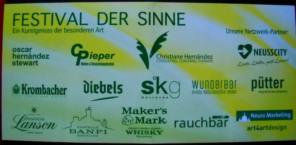 """""""Festival der Sinne"""" Sponsors. Neuss, 2010."""