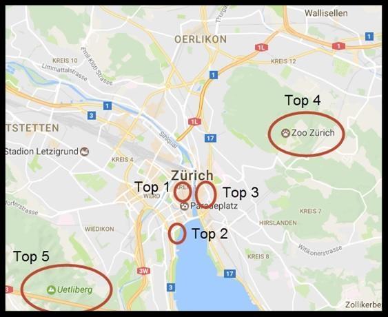freaky finance, freaky travel, Zürich, Schweiz, Gastartikel, Landkarte, Tour, Route, Maps, Standorte