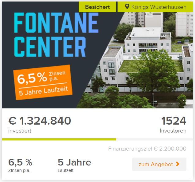 freaky finance, Crowdinvestiment, Crowdinvesting, Bergfürst, Projekt Fontane Center, Screenshot