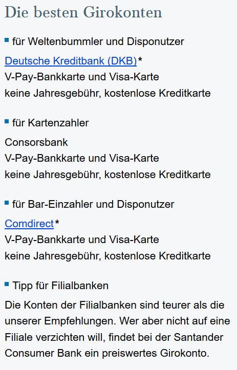 freaky finance, Empfehlungen Girokonto, Finanztip, Screenshot