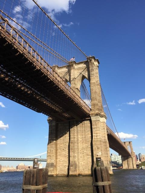 freaky finance, freaky travel, New York, Brooklyn Bridge, Himmel, Wolken, Fluss, River