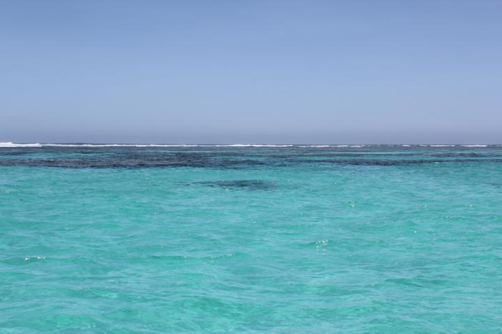 Blick auf das blaue Meer an der Küste Coral Bays