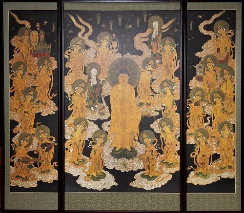 阿弥陀如来二十五菩薩来迎図の屏風 工芸品