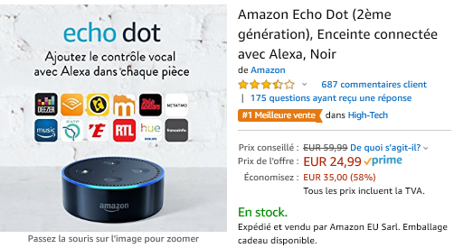Echo Dot 24,99 Euros au lieu de 59,99 euros :Promotion sur la gamme Amazon Echo : Echo, Echo Plus, Echo Dot, Echo Spot, Section Bons Plans - Promos :  www.2bamboo.jimdo.fr