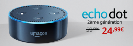 Echo Dot 2eme Gen 24,99 Euros au lieu de 59,99 euros :Promotion sur la gamme Amazon Echo : Echo, Echo Plus, Echo Dot, Echo Spot, Section Bons Plans - Promos :  www.2bamboo.jimdo.fr