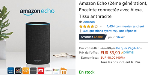 Echo 59,99 Euros au lieu de 99,99 euros :Promotion sur la gamme Amazon Echo : Echo, Echo Plus, Echo Dot, Echo Spot, Section Bons Plans - Promos :  www.2bamboo.jimdo.fr