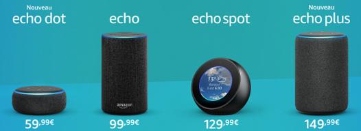 multiples offres d'Amazon sur leur gamme d'équipements d'Amazon Echo