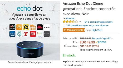 Promo Flash Spécial - Durée limitée !!!  ( Début Octobre2018 )  Alexa - Echo Dot 17% réduction !!!  49,99 Euros (au lieu de 59,99 Euros)