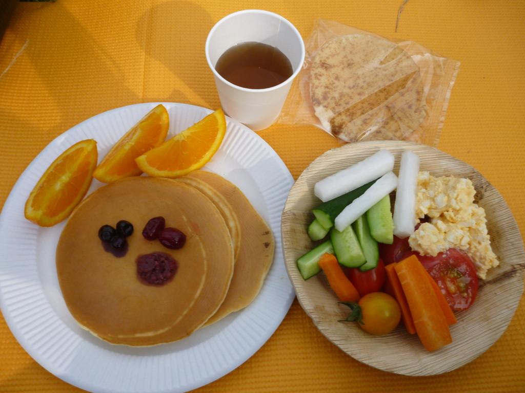 pancake,salad,tea