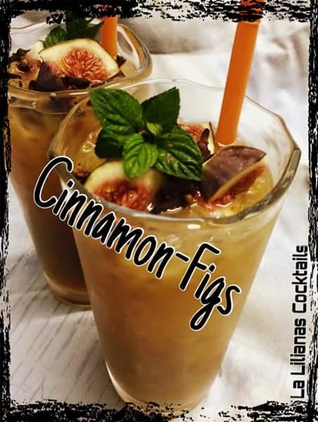 Cinnamon Figs... Feigenlikör, Orientalische Gewürze, Zimt, Haselnusssirup und Maracujasaft, mit frischen Feigen, Minze und Nelken garniert