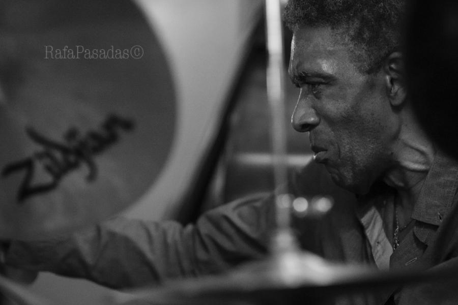 Al Foster en el concierto de Jorge Rossy Vibes Quintet en el Dado Dadá. Santiago de Compostela. 21-05-2016
