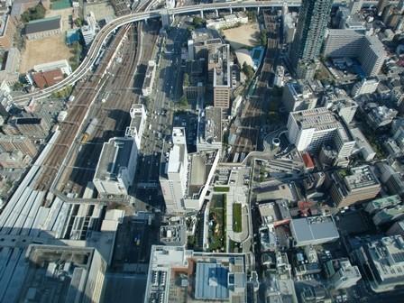 足元に見える近鉄阿倍野橋駅