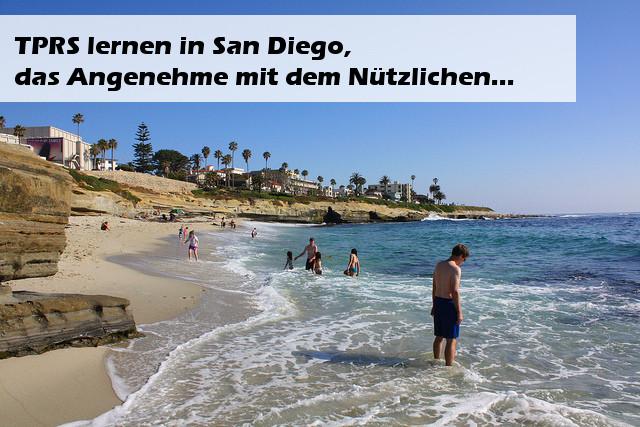 TPRS Lernen in San Diego Bild von Strand mit Schrift als Overlay