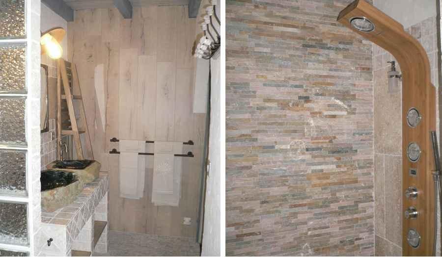 Salle d'eau minérale de la chambre d'hôtes à Pailloles