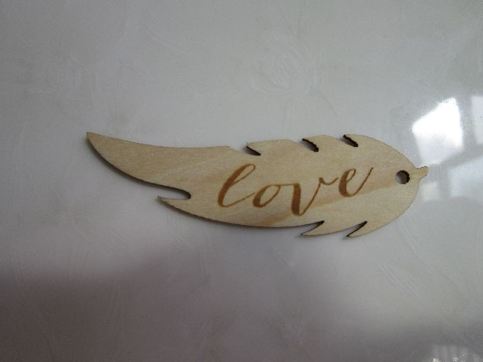Feather laser cut and engrave/etched, Plywood