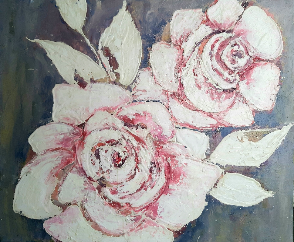Rosen Acryl mit Beton 100x100 cm
