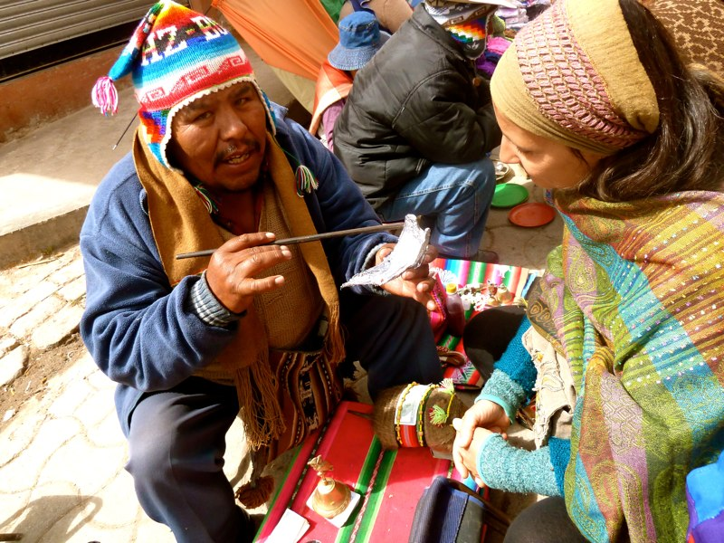 Divination in Copacabana, Lake Titicaca/Bolivia