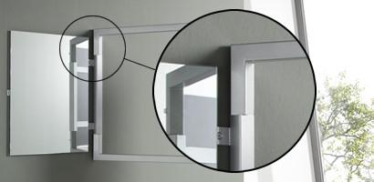 Detailansicht Drehgelenk Spiegelrahmen