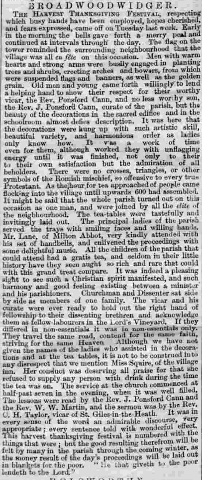 An account of one of Ponsford Cann's last Harvest festivals - Western Times, 24/9/1872