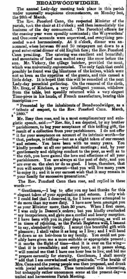Royal Cornwall Gazette, 6/4/1860 at p.6.