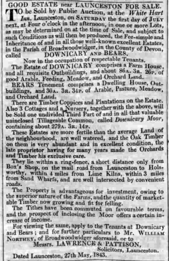 Exeter & Plymouth Gazette, 10/6/1843 at p.1