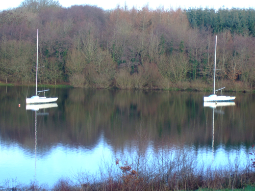 Sailing boats moored on Roadford lake