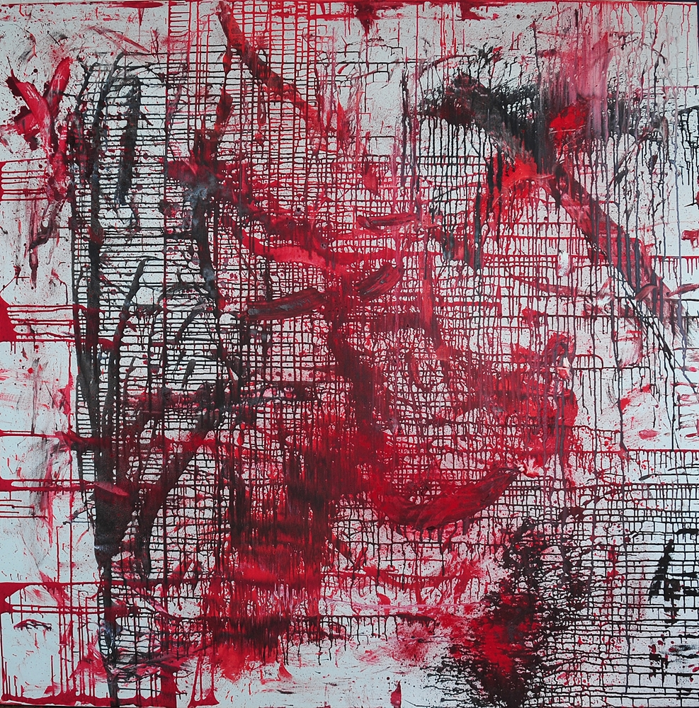 """WE in RED LX"" ( Nr. 60!), 2020, oil, pigments on canvas, 2 meters × 2 meters, copyright Christina Mitterhuber"