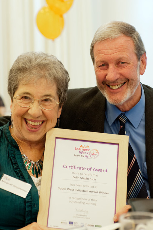 Colin and Margaret clutching his award!