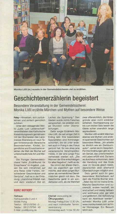 Veranstaltung in Poing vom 24. Okt. 2014, Bericht im Wochenblatt