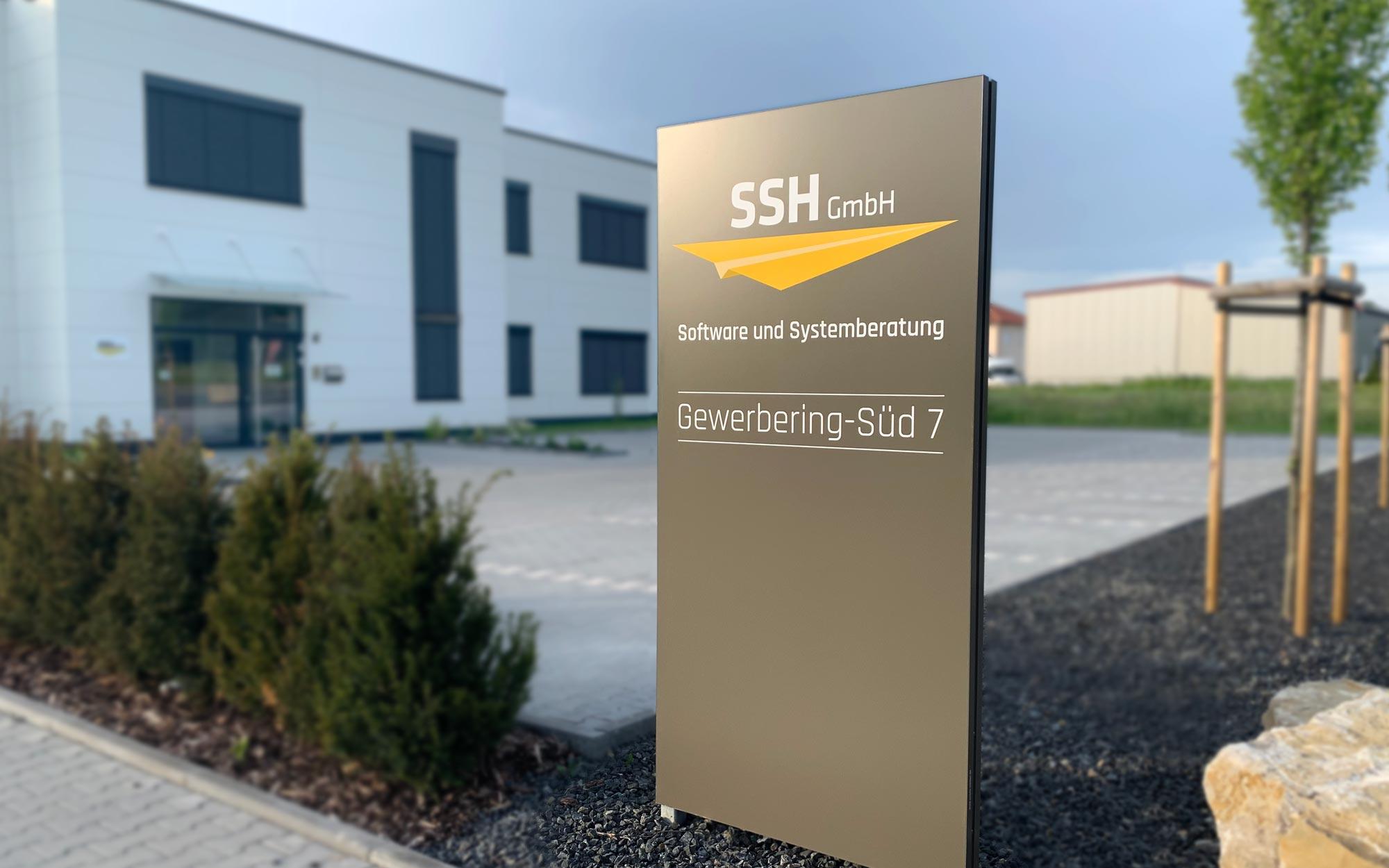 Premium Außenaufsteller bzw. Werbepylon für die SSH GmbH